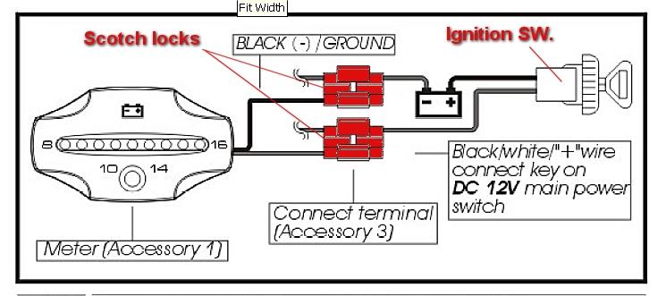 motorcycle voltmeter wiring diagram koso voltmeter installation  koso voltmeter installation