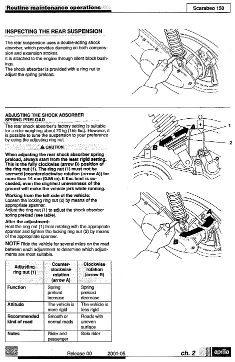 Rear Suspension Adjustment / 2006 Scarabeo 250